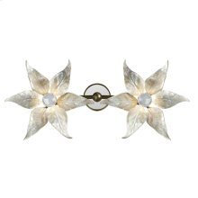 White Oyster Shell Inlaid Wall Sconce, Floral Decor, Soft Brass and Glass Accents