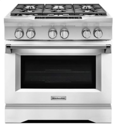 36'' 6-Burner Dual Fuel Freestanding Range, Commercial-Style - Imperial White Product Image