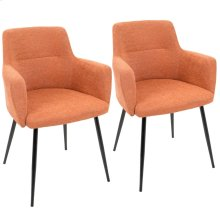 Andrew Chair - Set Of 2 - Black Metal, Orange Fabric
