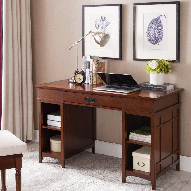 Additional Mission Oak Tower Desktop Pc Pier Base Desk With Center Drawer 82402
