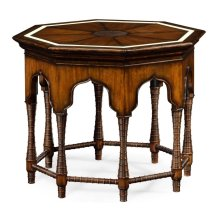 Octagon Rustic Walnut Center Table with Bones Inlay