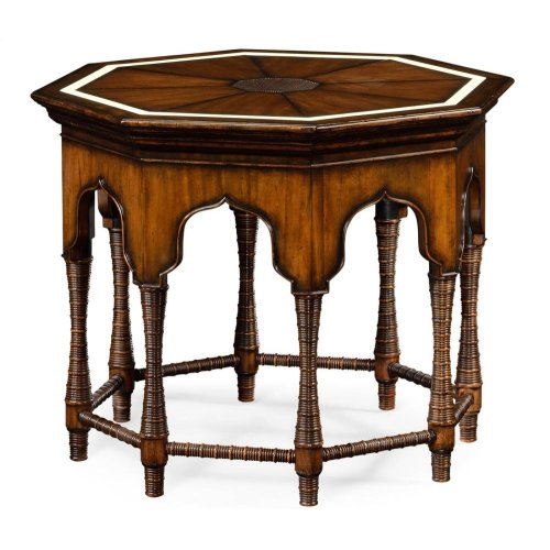 Octagon Rustic Walnut Center Table with Bones Inlay