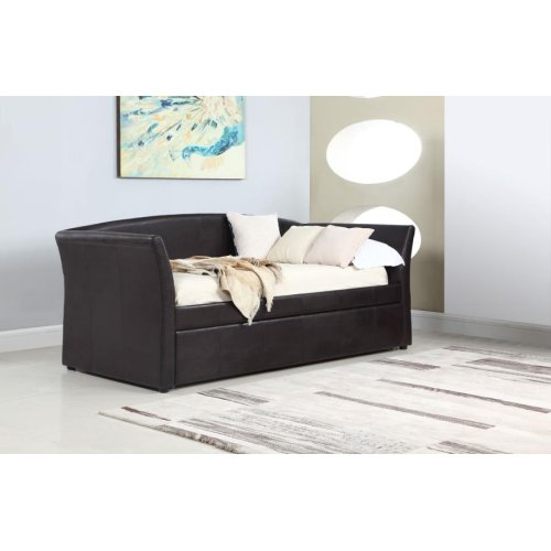 Transitional Dark Brown Upholstered Daybed