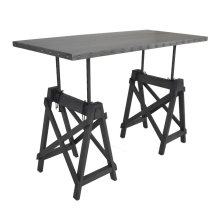 Industrial Galvanized Grey Adjustable Desk