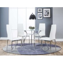Delphi 5 Piece Dining Room Set: Table & 4 White Chairs