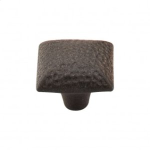 Square Iron Knob Dimpled 1 3/8 Inch - Rust