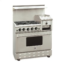 """36"""" BlueStar - Residential Nova Burner (RNB) - Heritage Classic Gas Range with 4.5 Cu. Ft. Convection Oven and Raised Griddle"""