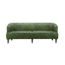 Magdelan Tufted Leather Sofa Emerald