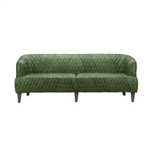 Magdelan Tufted Leather Sofa Emerald