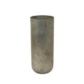 "12"" Glass Beaded Vase, Silver"