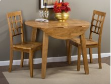 Simplicity Honey Drop Leaf Table With Two Grid Back Dining Chairs