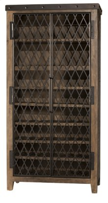 Jennings Tall Wine Cabinet - Distressed Walnut