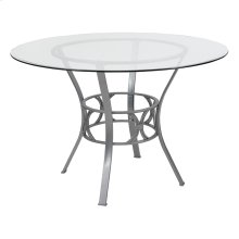 Carlisle 45'' Round Glass Dining Table with Silver Metal Frame