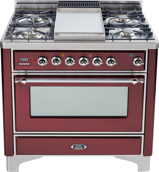 Burgundy with Chrome trim - Majestic 36-inch Range with 6-Burner