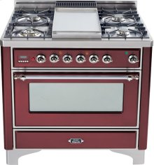 Burgundy with Chrome trim - Majestic 36-inch Range with Griddle