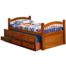 York Java Twin Captain's Bed w/ Trundle, 3 Storage Drawers & Antique Brass Knobs