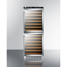Dual Zone 108 Bottle Wine Cellar With Two Glass Doors and Digital Thermostats; for Built-in or Freestanding Use