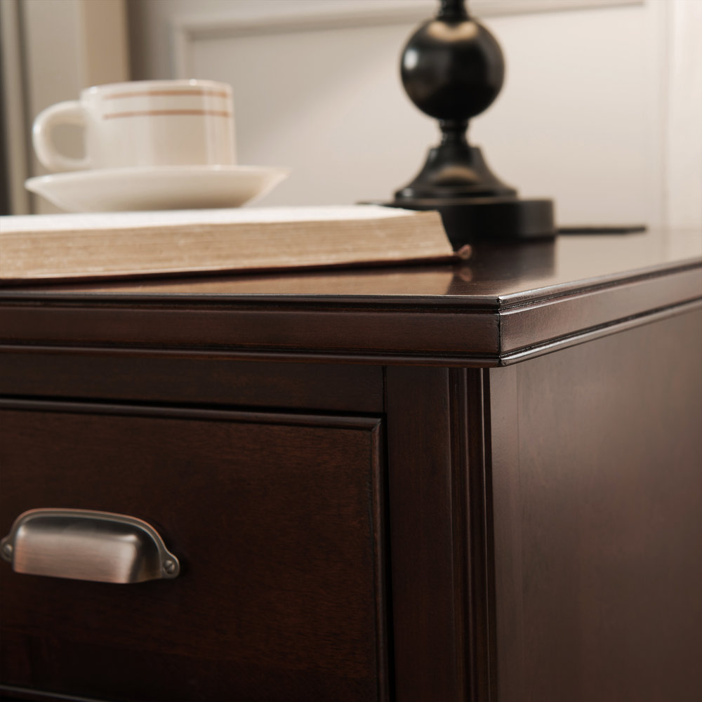 Cabinet End Table With Top Drawer, Door And 2 Plug Electrical Outlet/USB
