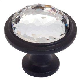 Legacy Crystal Round Knob 1 5/16 Inch - Matte Black