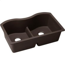 "Elkay Quartz Luxe 33"" x 20"" x 9-1/2"", Equal Double Bowl Undermount Sink with Aqua Divide, Chestnut"