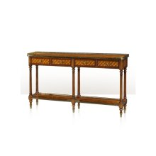 A Burl Lattice Parquetry, Brass Mounted Console Table - Parquetry Inlaid