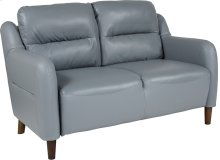 Newton Hill Upholstered Bustle Back Loveseat in Gray Leather