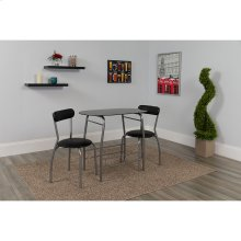 Sutton 3 Piece Space-Saver Bistro Set with Black Glass Top Table and Black Vinyl Padded Chairs