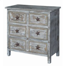 Laredo 6 Drawer Rustic Wood Chest w/ Rope Detail and Texas Star Hardware
