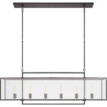 Visual Comfort S5195AI-CG Ian K. Fowler Halle 6 Light 56 inch Aged Iron Linear Pendant Ceiling Light, Large