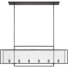 Visual Comfort S5195AI-CG Ian K. Fowler Halle 6 Light 56 inch Aged Iron Linear Pendant Ceiling Light, Large