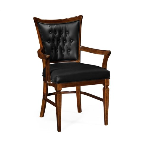 Calista Dining Armchair, Upholstered in Black Leather