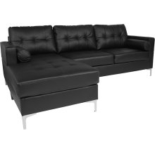 Riverside Upholstered Tufted Back Sectional with Left Side Facing Chaise and Bolster Pillows in Black Leather