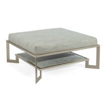 Silver Two-Tier Metal Base Ottoman