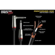 Instrument Cable - Braided, MicroFiber® Dielectric - Monster® Performer 600 (Angled) - 8 in.