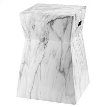 Artesia Marble Garden Stool - White / Black Marble