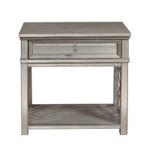 Mirrored Front Leg Nightstand with Silver Leaf Overlays