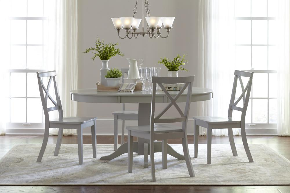 Everyday Classics Round To Oval Dining Table With 4 X Back Chairs  Dove