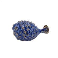 "Ceramic Blowfish Figurine 5.5"", Blue"