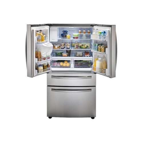 23 cu. ft. 4-Door French Door, Counter Depth Refrigerator with FlexZone Drawer in Stainless Steel