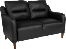 Newton Hill Upholstered Bustle Back Loveseat in Black Leather