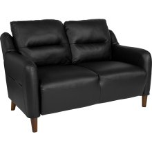 Newton Hill Upholstered Bustle Back Loveseat in Black Leather