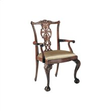 CARVED POLISHED MAHOGANY FINIS H CHIPPENDALE ARMCHAIR, CABRIO LE LEG, NEUTRAL UPH
