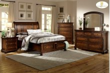California King Sleigh Platform Bed with Footboard Storage