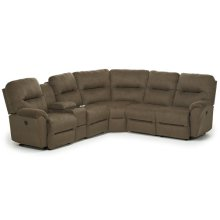 BODIE 6PC Sectional Reclining Sofa w/Drawer Console Unit
