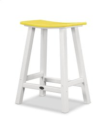 "White & Lemon Contempo 24"" Saddle Bar Stool"