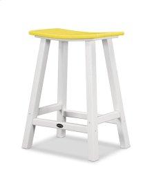 "White & Lemon Contempo 24"" Saddle Bar Stool"