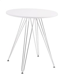 27.5'' Round Gather Table- White Top & Chrome Base Rta