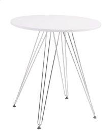 27.5'' Round Gather Table- White Top & Chrome Base Rta