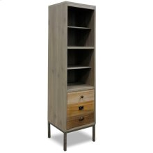 This bookcase brings vertical storage to our collection. The bottom door looks like 3 drawers with c