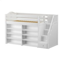 Mid Loft w/ Staircase, 8 Shelf Bookcase & 4-1/2 Drawer Dresser : Twin : White : Curved
